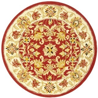 Safavieh Hand-hooked Chelsea Fall Tabriz Red Wool Rug (3' Round)