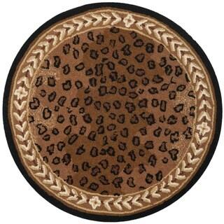 Safavieh Hand-hooked Chelsea Leopard Brown Wool Rug - 3' x 3' round