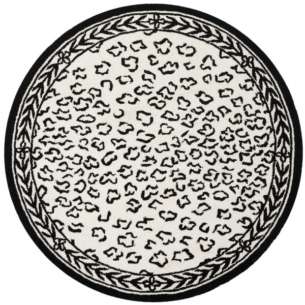 Safavieh Hand-hooked Chelsea Leopard White Wool Rug (3' Round)