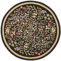 Safavieh Hand-hooked Garden Black Wool Rug - 8' x 8' Round