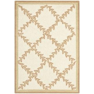 Safavieh Hand-hooked Trellis Ivory/ Beige Wool Rug (1'8 x 2'6)