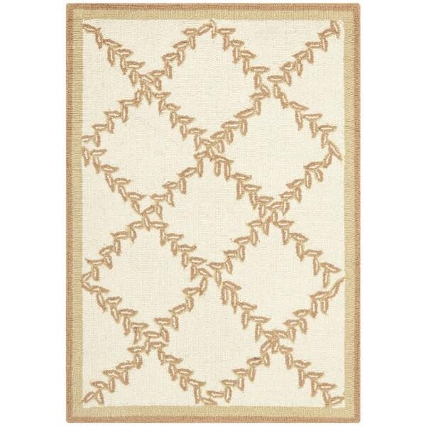 Safavieh Hand-hooked Trellis Ivory/ Beige Wool Rug - 1'8 x 2'6