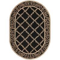 """Safavieh Hand-hooked Trellis Black/ Beige Wool Rug - 4'6"""" x 6'6"""" oval"""