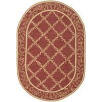 """Safavieh Hand-hooked Trellis Rust/ Beige Wool Rug - 4'6"""" x 6'6"""" oval"""