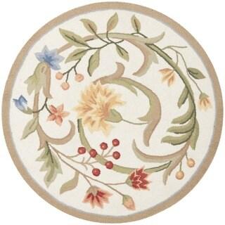 Safavieh Hand-hooked Garden Scrolls Ivory Wool Rug (3' Round)