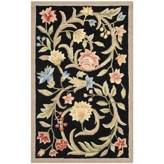 Safavieh Hand-hooked Garden Scrolls Black Wool Rug - 2'6 x 4'