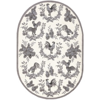 Safavieh Hand-hooked Hens Grey Wool Rug (4'6 x 6'6 Oval)