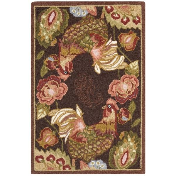 Safavieh Hand-hooked Chelsea Brown Roosters Wool Rug (2'6 x 4')