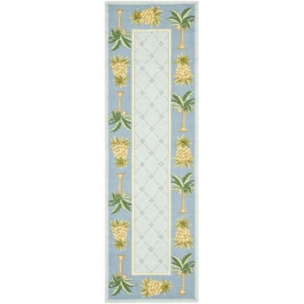 Safavieh Hand-hooked Pineapples Light Blue Wool Rug (2'6 x 12')