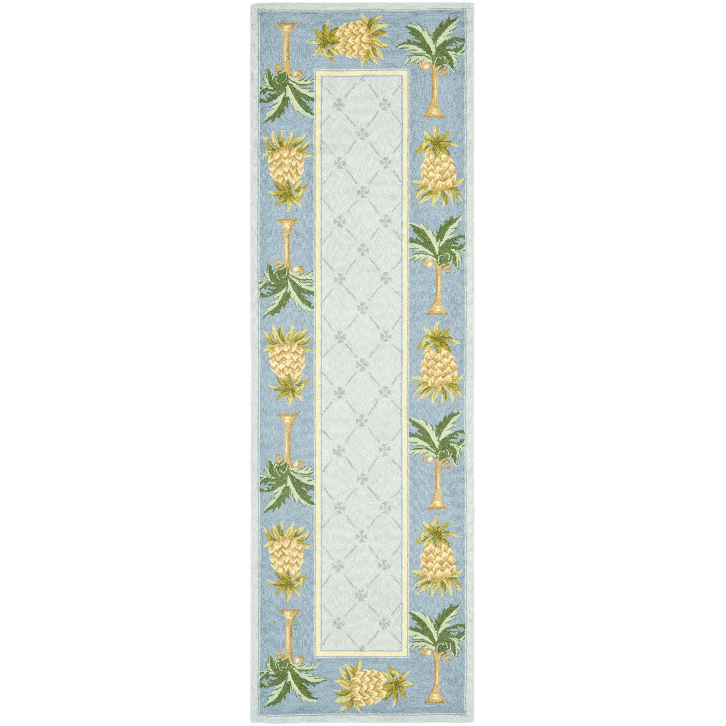 Safavieh Hand-hooked Pineapples Light Blue Wool Rug (2'6 ...