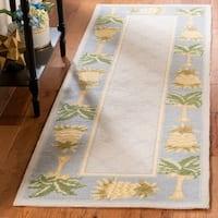 Safavieh Hand-hooked Pineapples Light Blue Wool Rug - 2'6 x 8'