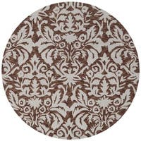 Safavieh Hand-hooked Chelsea Damask Brown Wool Rug - 3' x 3' round