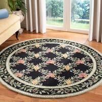 Safavieh Hand-hooked Garden Trellis Black Wool Rug - 3' x 3' round