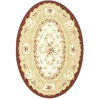 Safavieh Hand Hooked Aubusson Ivory Burgundy Wool Rug 7 6 X 9