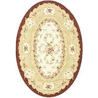 "Safavieh Hand-hooked Aubusson Ivory/ Burgundy Wool Rug - 7'6"" x 9'6"" oval"