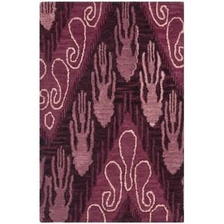 Safavieh Handmade Ikat Dark Brown/ Purple Wool Rug (2' x 3')