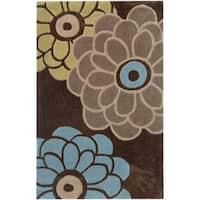Safavieh Handmade Modern Art Daisies Brown/ Multicolored Polyester Rug - 2'6 x 4'