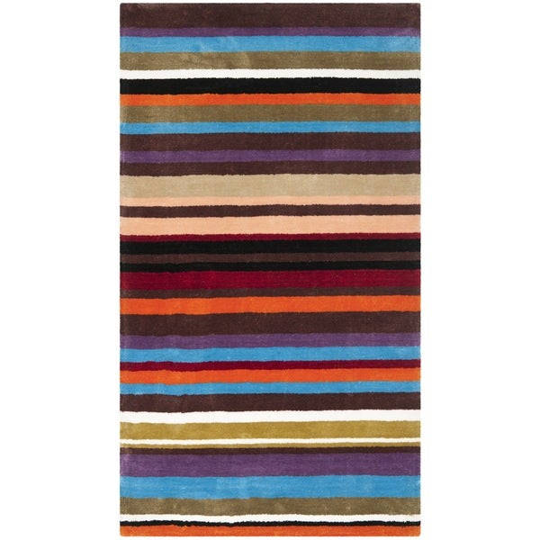 Safavieh Handmade Rodeo Drive Contemporary Blue Rainbow Stripe Rug (2' x 3')