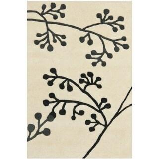 Safavieh Handmade Vine Ivory/ Grey New Zealand Wool Rug (2' x 3')