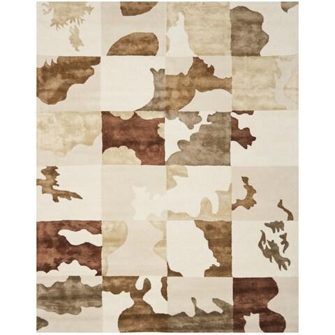 "Safavieh Handmade Soho Modern Abstract Ivory Wool Rug - 8'3"" x 11'"