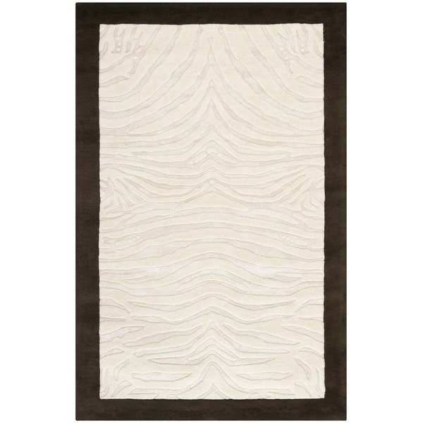 Safavieh Handmade Zebra Ivory New Zealand Wool Rug - 8'3 x 11'