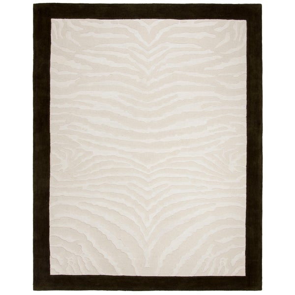 "Safavieh Handmade Zebra Ivory New Zealand Wool Rug - 8'3"" x 11'"