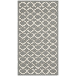Safavieh Anthracite Grey/ Beige Indoor Outdoor Rug (2' x 3'7)