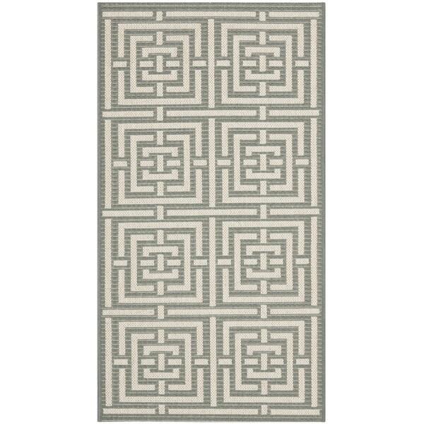 Safavieh Grey/ Cream Indoor Outdoor Rug (2' x 3'7)