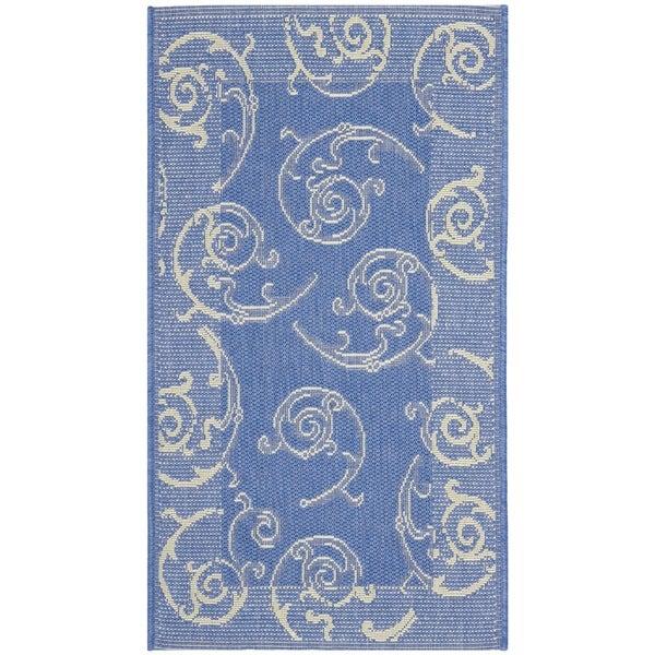 Safavieh Oasis Scrollwork Blue/ Natural Indoor/ Outdoor Rug (2' x 3'7)