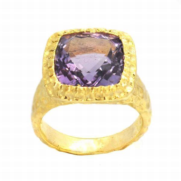 De Buman Gold over Silver Amethyst Ring