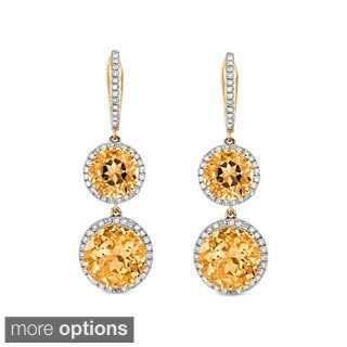 14k Gold Round Gemstone and 3/4ct TDW Diamond Earrings (I-J, I1-I2)