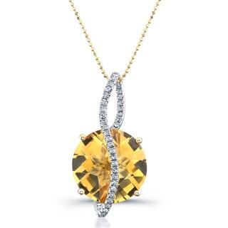 14k Yellow Gold Citrine and 1/5ct TDW Diamond Necklace (I-J, I1-I2)