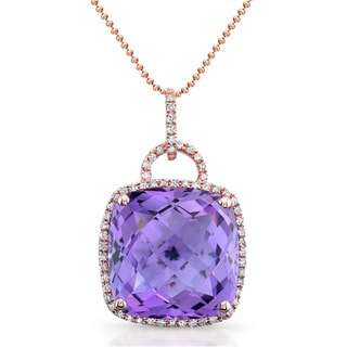 14k Rose Gold Amethyst and 1/8ct TDW Diamond Necklace (I-J, I1-I2)