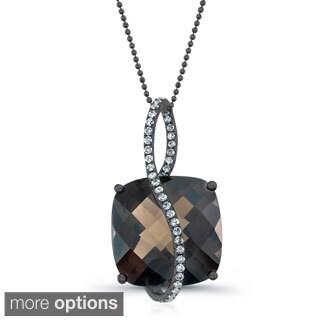 14k Gold Cushion Gemstone and 1/4ct TDW Diamond Necklace (I-J, I1-I2)
