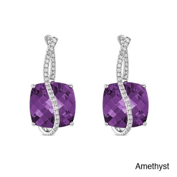14k White Gold Gemstone and 1/3ct TDW Diamond Earrings (I-J, I1-I2)