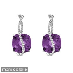 14k White Gold Gemstone and 1/3ct TDW Diamond Earrings (I-J, I1-I2)
