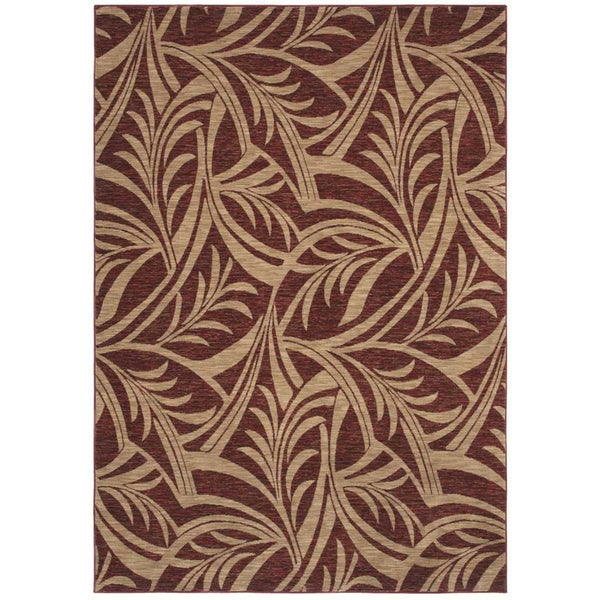 Abstracted Leaf Cranberry Area Rug (5'5 x 7'9)