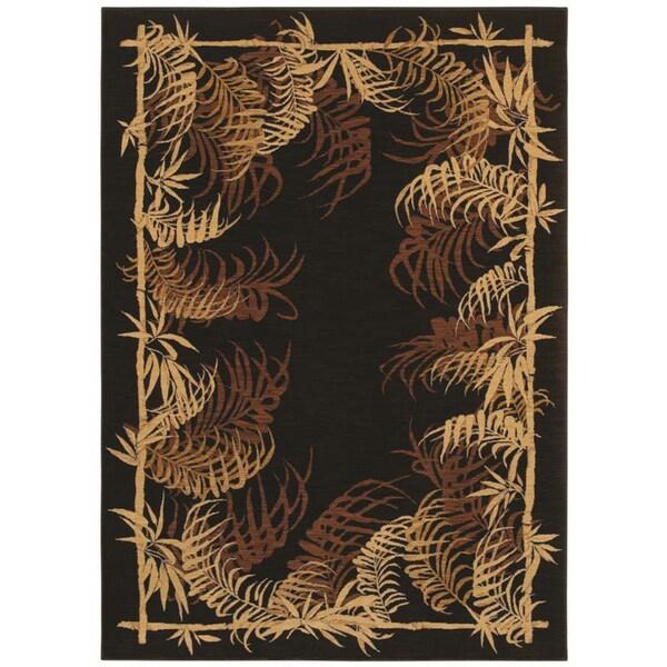 Tommy Bahama Bengali Border Black Rug (3'6 x 5' )