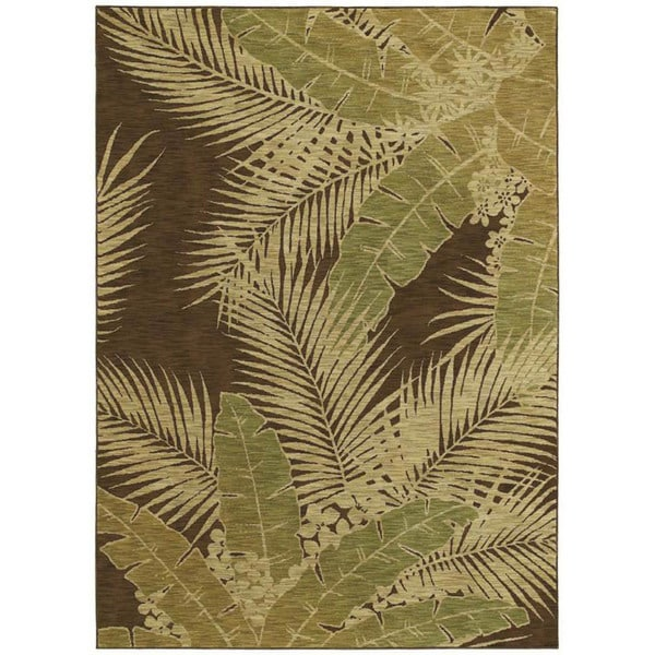 Tommy Bahama Dark Brown Carnival Palms Rug (5'5 x 7'9)