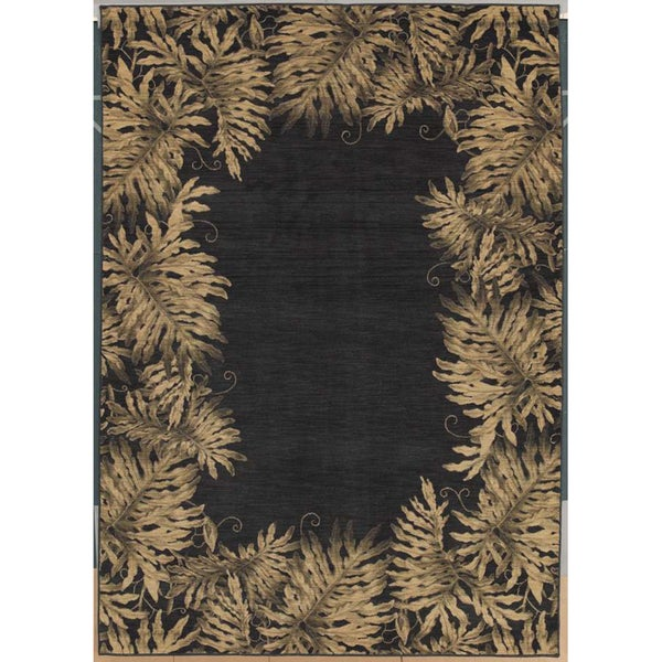 Tommy Bahama Jungle Tumble Black Rug (5'5 x 7'5)