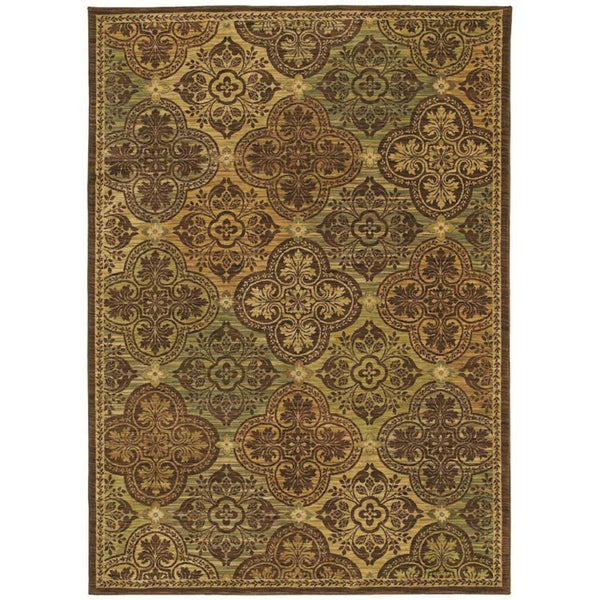 Tommy Bahama Home Rugs Dark Brown Moroccan Mosaic Transitional Rug (5'5 x 7'9)