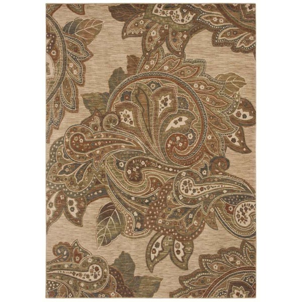 Tommy Bahama Home Rugs Light Multicolored Paradiso Paisley Transitional Rug (3'6 x 5)
