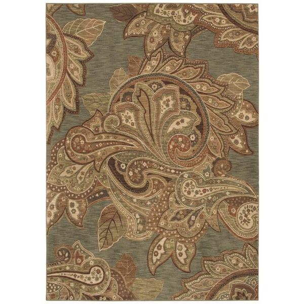 Tommy Bahama Home Rugs Ocean Green Paradiso Paisley Transitional Rug (7'9 x 10'10)