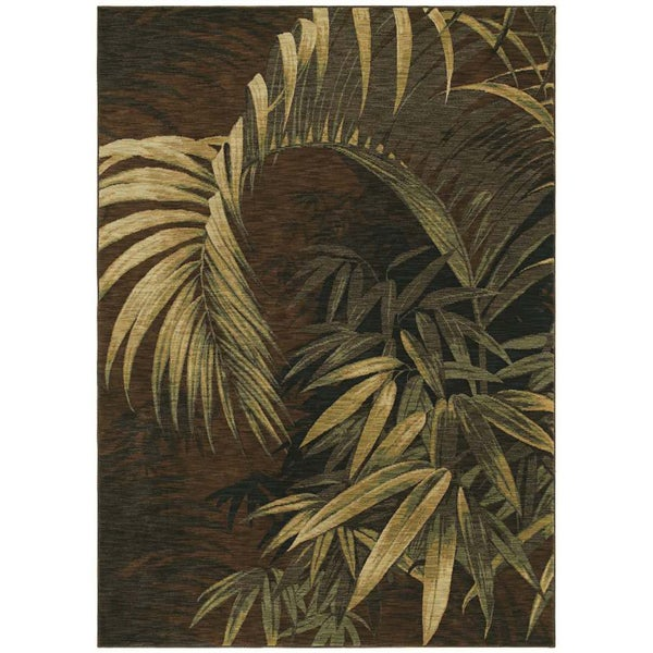 Tommy Bahama Home Rugs Dark Brown Polynesian Palms