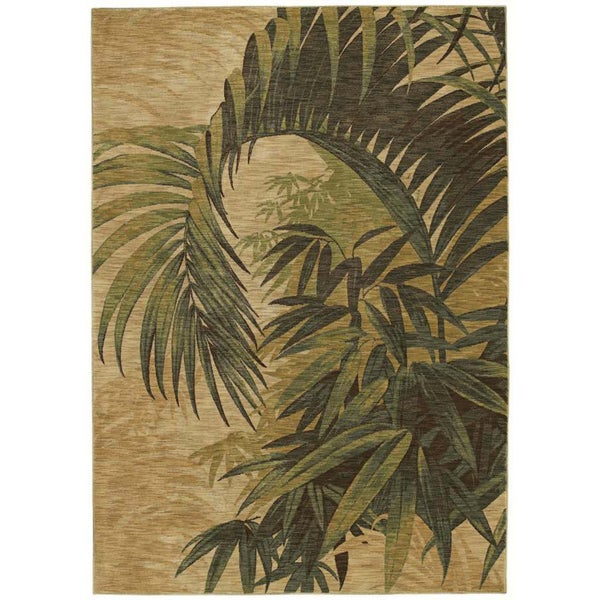 Tommy Bahama Home Rugs Beige Polynesian Palms Transitional Rug (5'5 x 7'9)