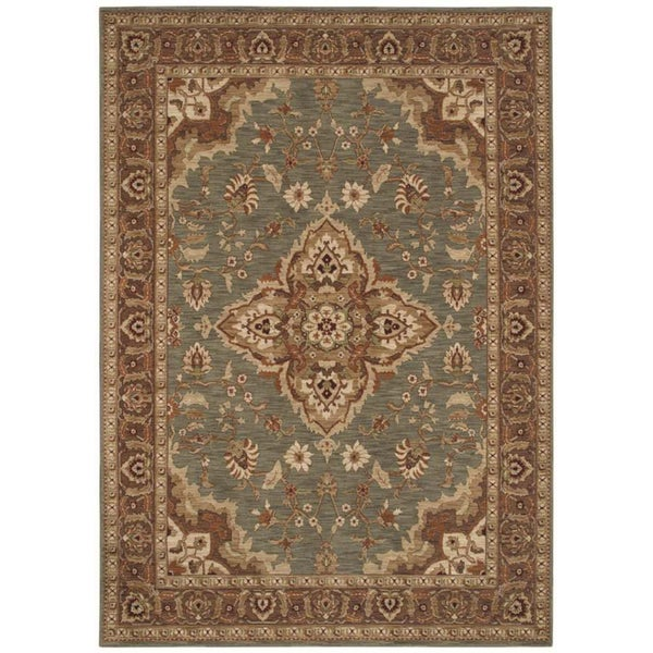 Tommy Bahama Home Rugs Ocean Green Port Royal Medallion Traditional Rug (3' 6 x 5')