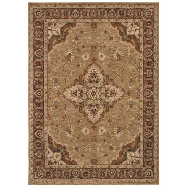 Tommy Bahama Home Rugs Gold Port Royal Medallion Traditional Rug (7'9 x 10'10)