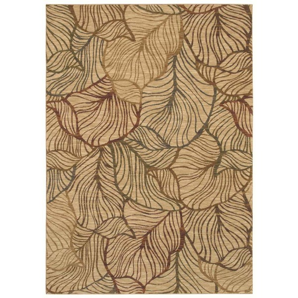Tommy Bahama Home Rugs Beige Sunset Palms Transitional Rug (9'6 x 12'10)