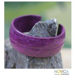 Leather 'Antiri in Purple' Cuff Bracelet (Ghana)