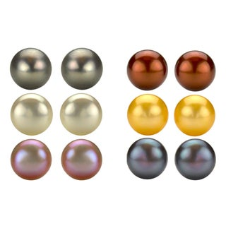DaVonna Sterling Silver Freshwater Pearl Stud Earrings (9-10 mm)